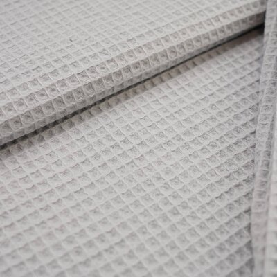 Waffle Pique Cotton Fabric Light Grey