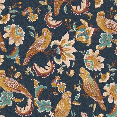 Bumbac organic imprimat - Tropical Birds Navy