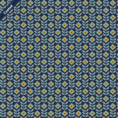 Bumbac peliculizat - Graphic Flower Navy