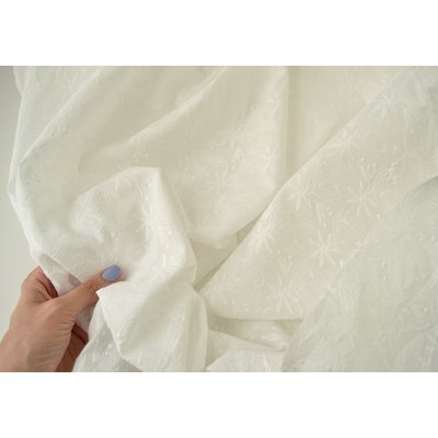 Bumbac subtire cu broderie - Floral Ivory