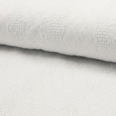 Bumbac subtire cu broderie - Floral Stripe White