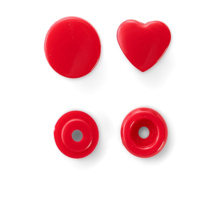 Capse din plastic Rosu - Heart - pachet 30 buc