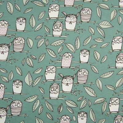 Jerse Bumbac imprimat - Owls Dusty Mint