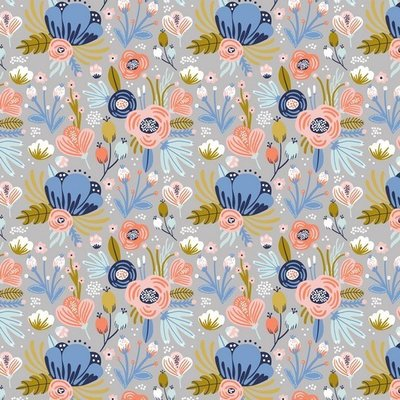Jerse Bumbac organic - Flowers Grey