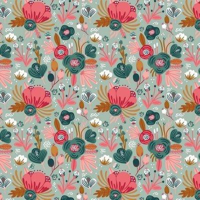 Jerse Bumbac organic - Flowers Mint