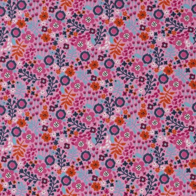 Jerse bumbac - Spring Floral Pink
