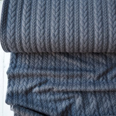 Jerse Jacquard Cable Knit - Dark Jeans