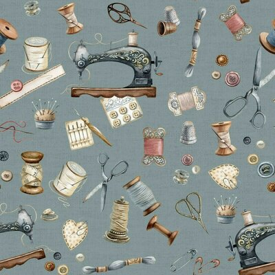 Material Canvas imprimat digital - Sewing Kit Teal