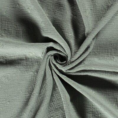 Muselina din bumbac cu broderie -  Floral Dark Mint