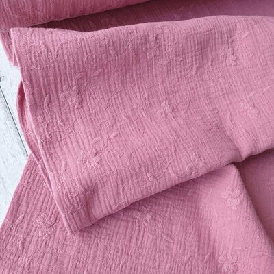 Muselina din bumbac cu broderie -  Floral Pink