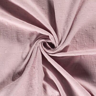 Muselina din bumbac cu broderie - Nature Old Pink