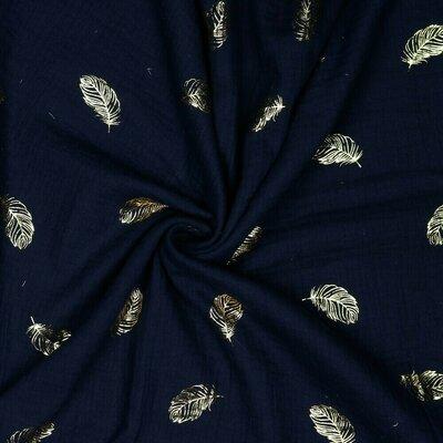 Muselina imprimata cu auriu - Feather Navy