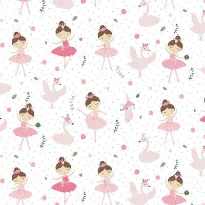 Poplin imprimat - Ballerina Swan And Roses White