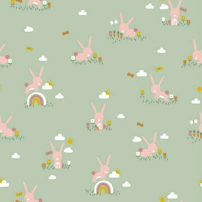 Poplin imprimat - Cute Rabbit Mint