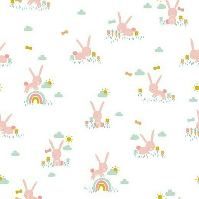 Poplin imprimat - Cute Rabbit White