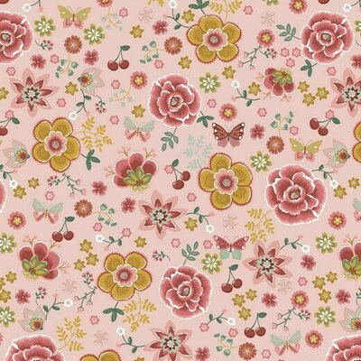 Poplin imprimat -  Flowers & Cherry Old Rose
