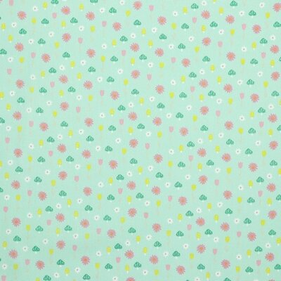 Poplin imprimat - Glitter Mushrooms Mint