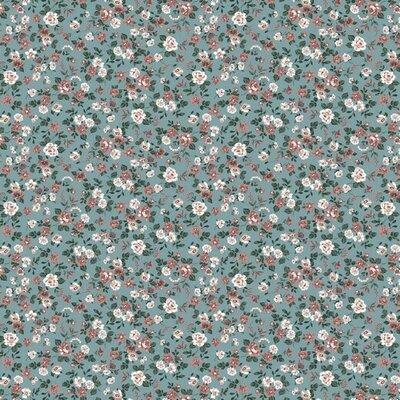 Poplin imprimat - Romantic Flowers Aqua