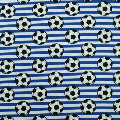 Poplin imprimat - Soccer Stripes Blue
