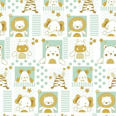 Poplin imprimat - Sweet Baby Animals White