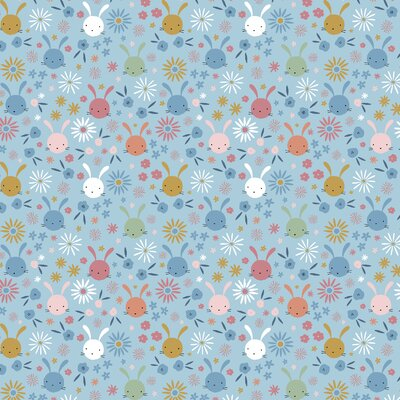 Poplin imprimat - Sweet Bunny Light Blue