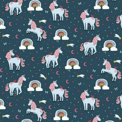 Poplin imprimat - Unicorns and Rainbows Navy
