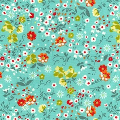 Poplin imprimat - Spring Flowers Green
