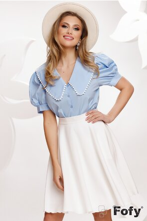 Bluza dama bleu cu maneca scurta guler retro conturat cu dantela brodata