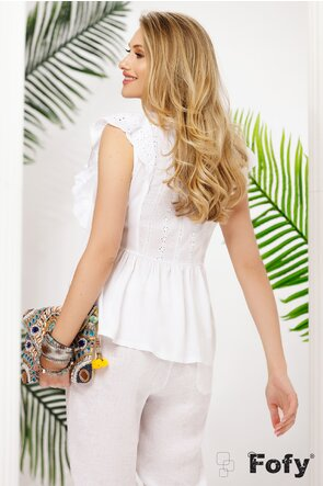 Bluza dama de vara alba din vascoza cu aplicatii de bumbac brodat