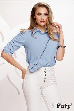 Bluza dama din voal bleu cu poseta inclusa