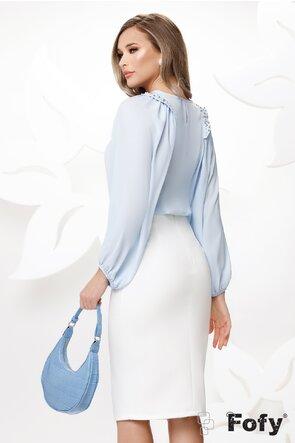 Bluza dama eleganta bleu cu maneci largi si aplicatii de perle si strassuri