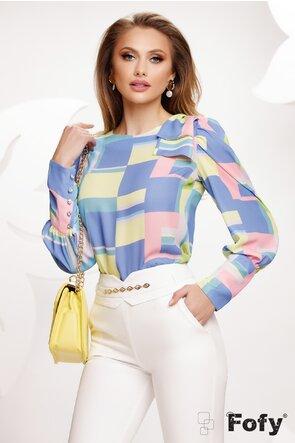 Bluza dama Fofy eleganta cu funda pe umar imprimeu multicolor