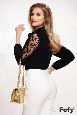 Bluza dama neagra eleganta cu aplicatii de dantela