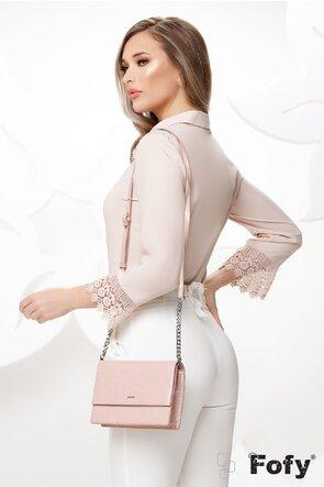 Bluza dama nude eleganta cu aplicatii de dantela brodata