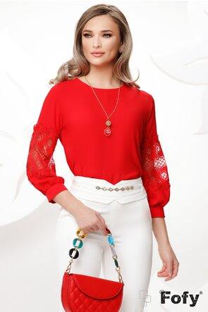Bluza dama rosie cu aplicatie de dantela si colier inclus