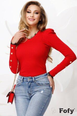Bluza dama rosie cu dantela neagra la anchior
