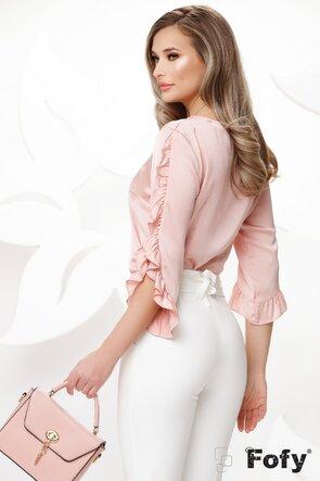 Bluza dama roz satinata cu volane la maneci si colier inclus