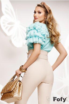 Bluza dama turcoaz din bumbac cu volane din voal pe un umar