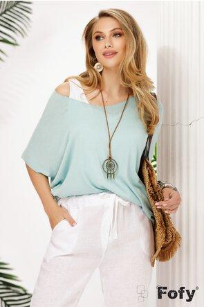 Bluza dama turcoaz pudrat de vara racoroasa din doua piese colier inclus