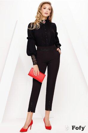 Bluză Fofy elegantă din voal negru si dantela