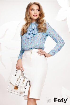 Bluza Fofy bleu cu jabou elegant imprimeu vesel