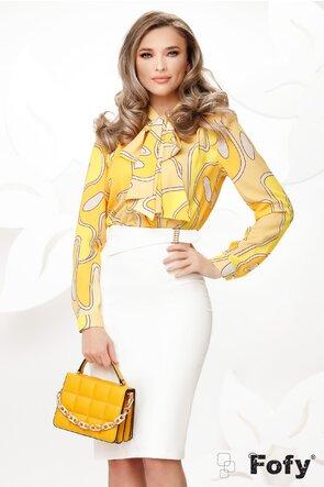 Bluza Fofy dama eleganta cu funda maxi imprimeu geometric tonuri de galben