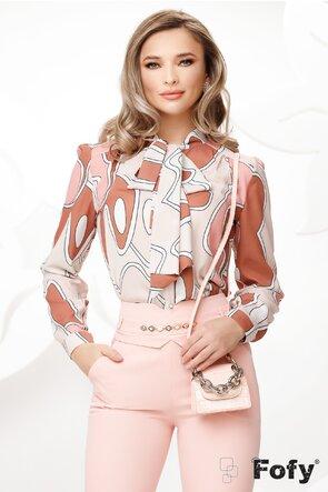 Bluza Fofy dama eleganta cu funda maxi imprimeu geometric tonuri de roz