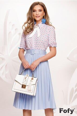 Bluza Fofy dama eleganta cu maneca scurta imprimeu multicolor