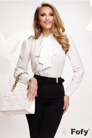 Bluza Fofy dama eleganta din voal alb diafan