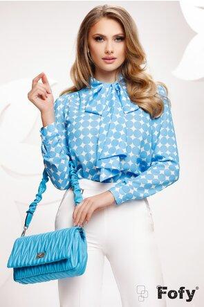 Bluza Fofy dama eleganta din voal cu buline albastre