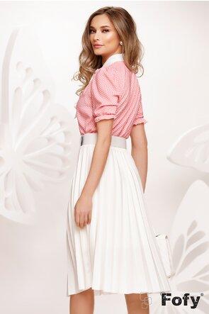 Bluza Fofy dama eleganta roz cu funda maxi alba