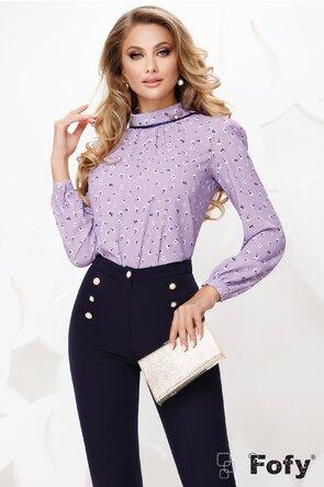 Bluza Fofy dama lila din voal cu guler șal si accesoriu inclus