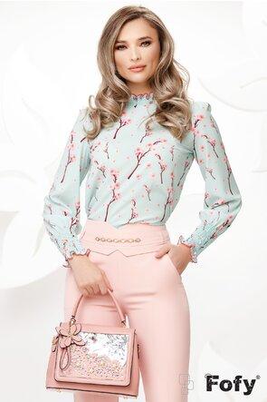 Bluza Fofy dama turcoaz eleganta imprimeu flori de cires mansete late incretite