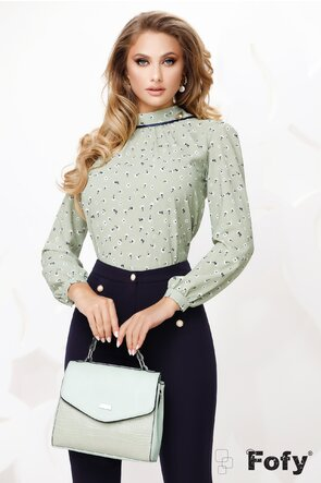 Bluza Fofy dama verde din voal cu guler șal si accesoriu inclus